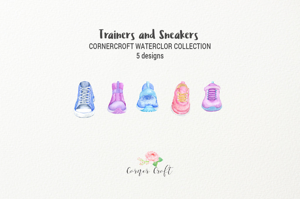 watercolor graphics of shoes, sneakers, trainers, for my family print
