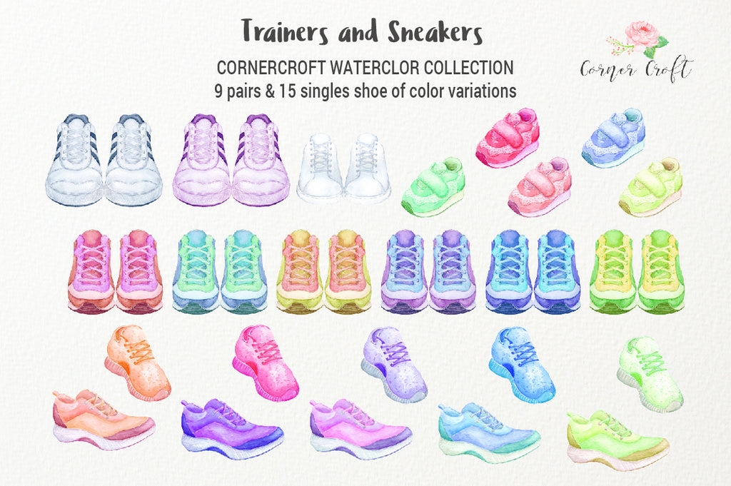 watercolor sport shoe illustration, digital download and trainers and sneakers,