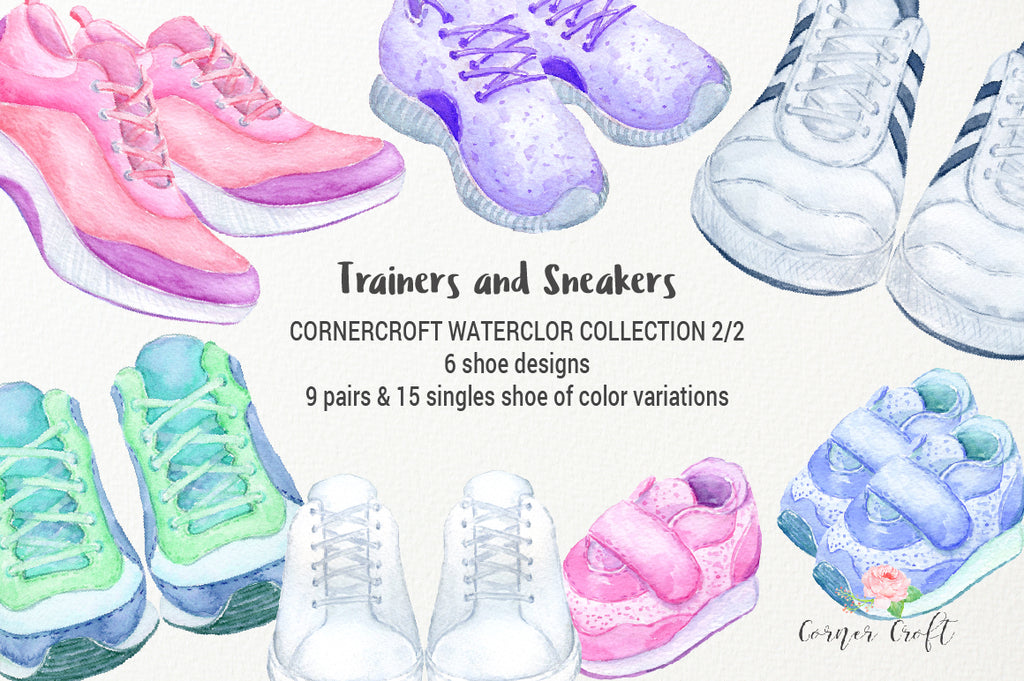 watercolor trainer illustration, sneaker illustration, instant download, pink, blue, purple, yellow shoe