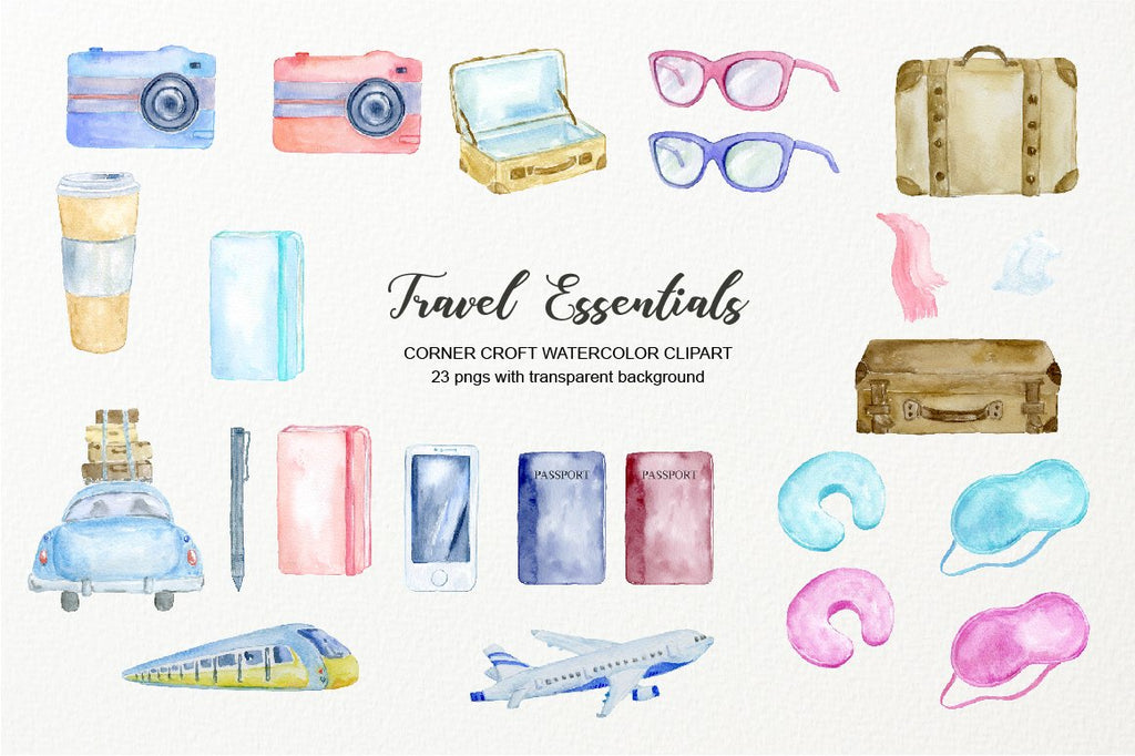 watercolour elements of passport, notebook, neck cushion, eye patch, mobile phone,  vintage suitcases, pen, sun glasses, camera
