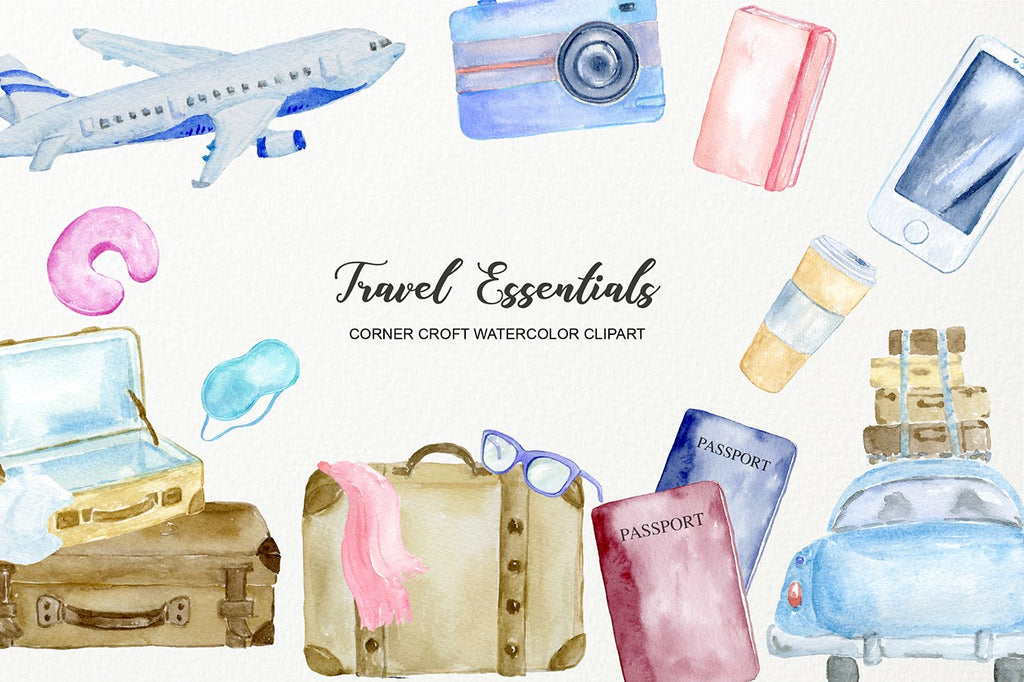 Travel icon airplane train car suitcase phone camera passpord digital download