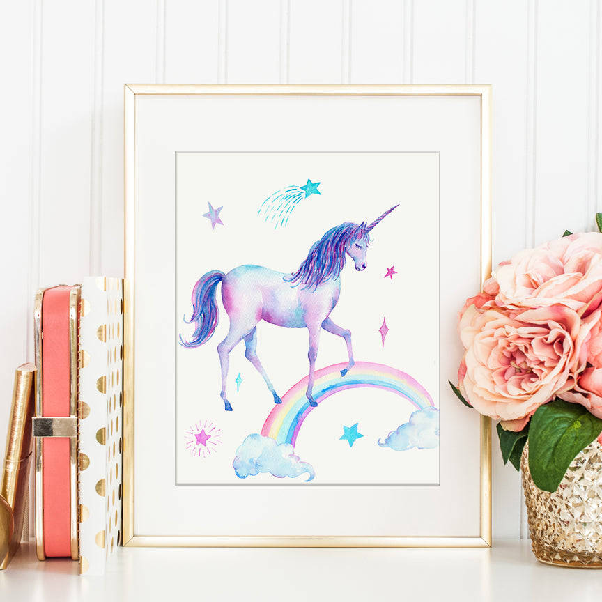 watercolor unicorn print, unicorn, star rainbow, printable