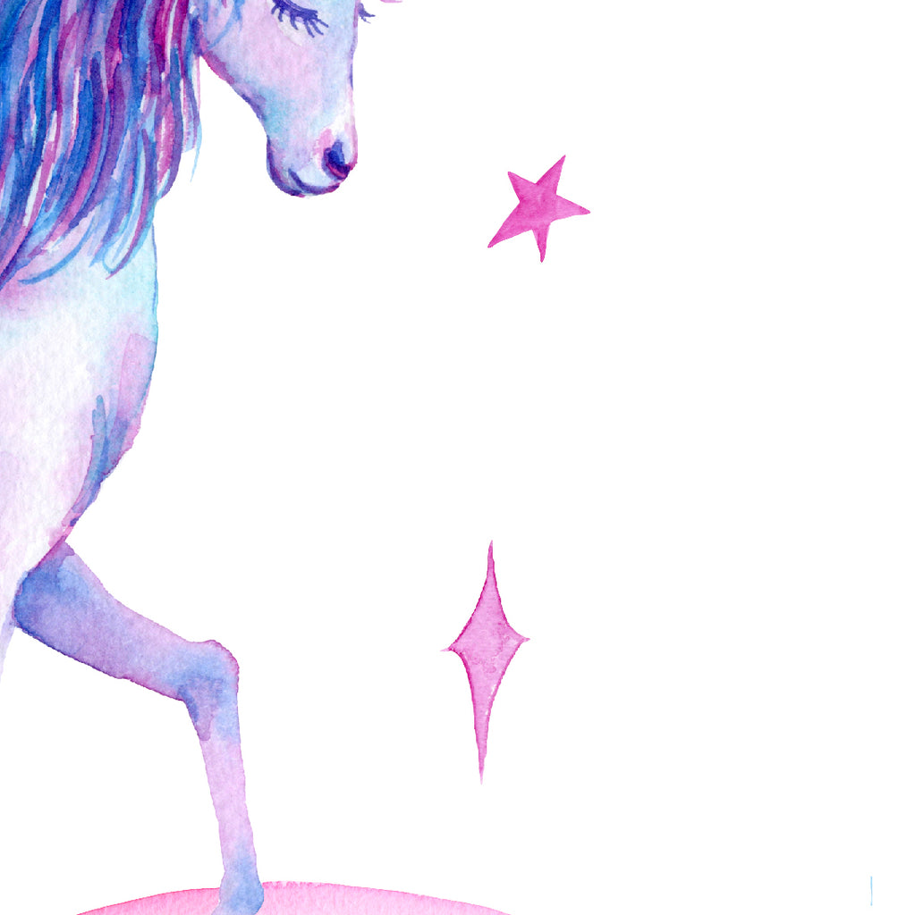 watercolor unicorn, blue and purple unicorn, girl room art print