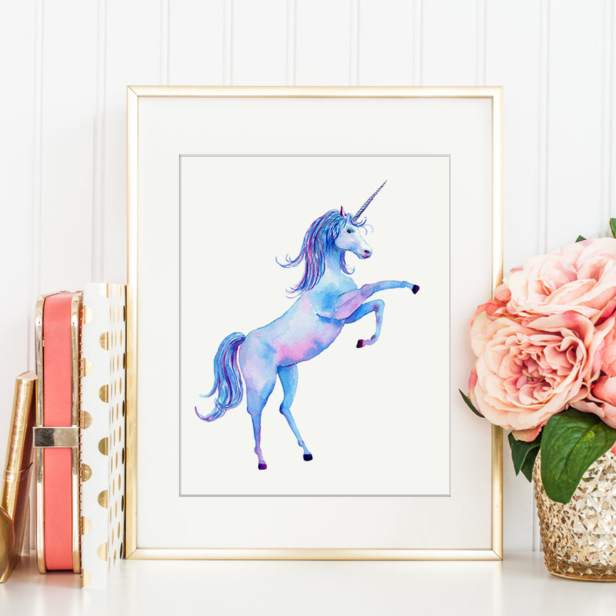 watercolor rearing unicorn print instant download, detailed unicorn illustration