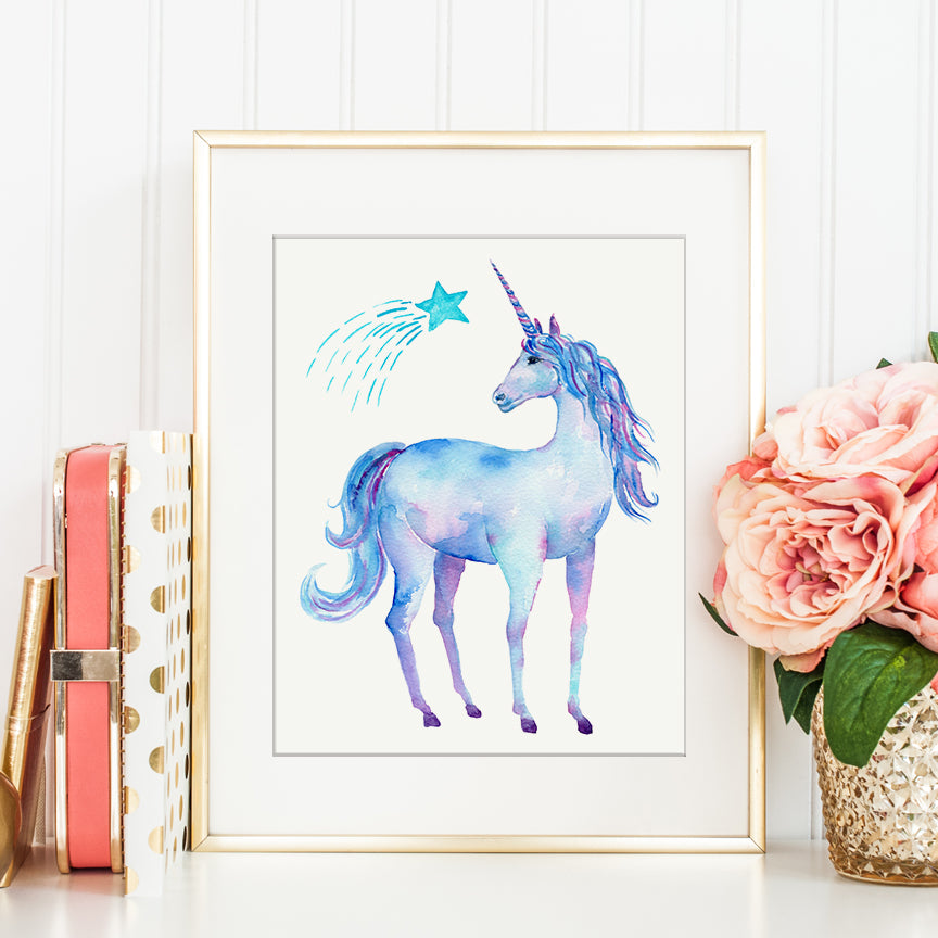 watercolor unicorn, blue unicorn, detailed unicorn, unicorn illustration
