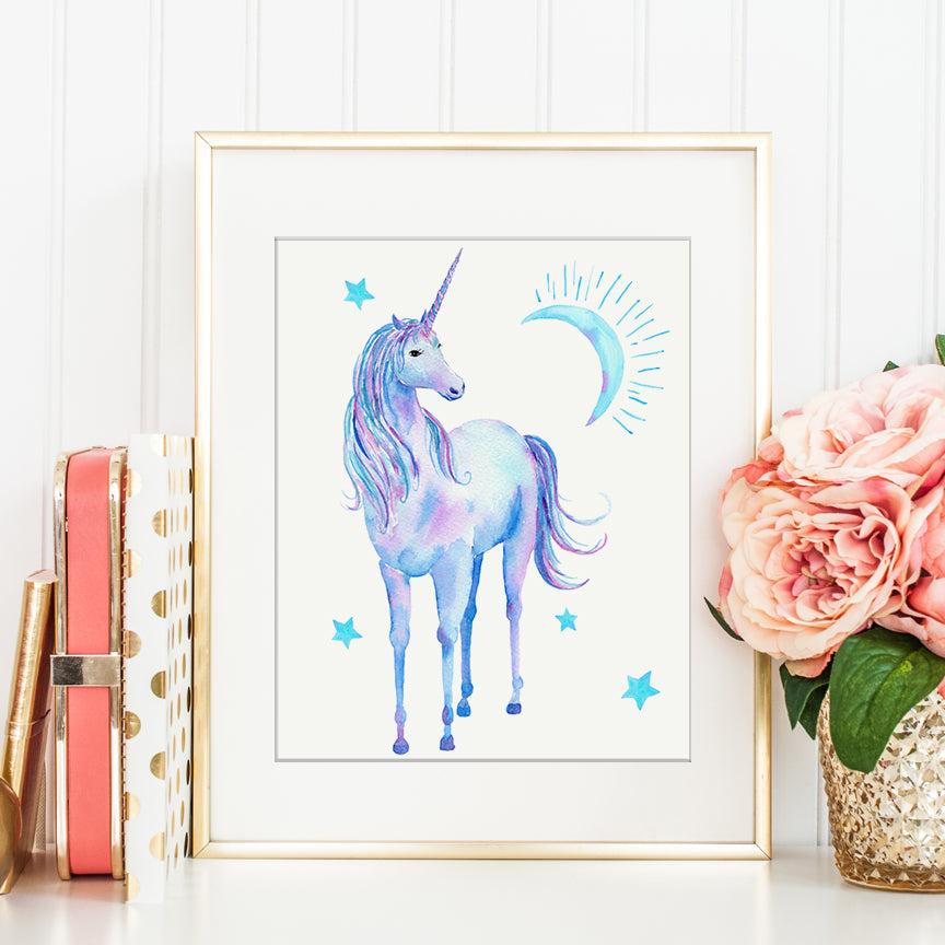 watercolor blue unicorn, turquoise unicorn, pretty unicorn instant download