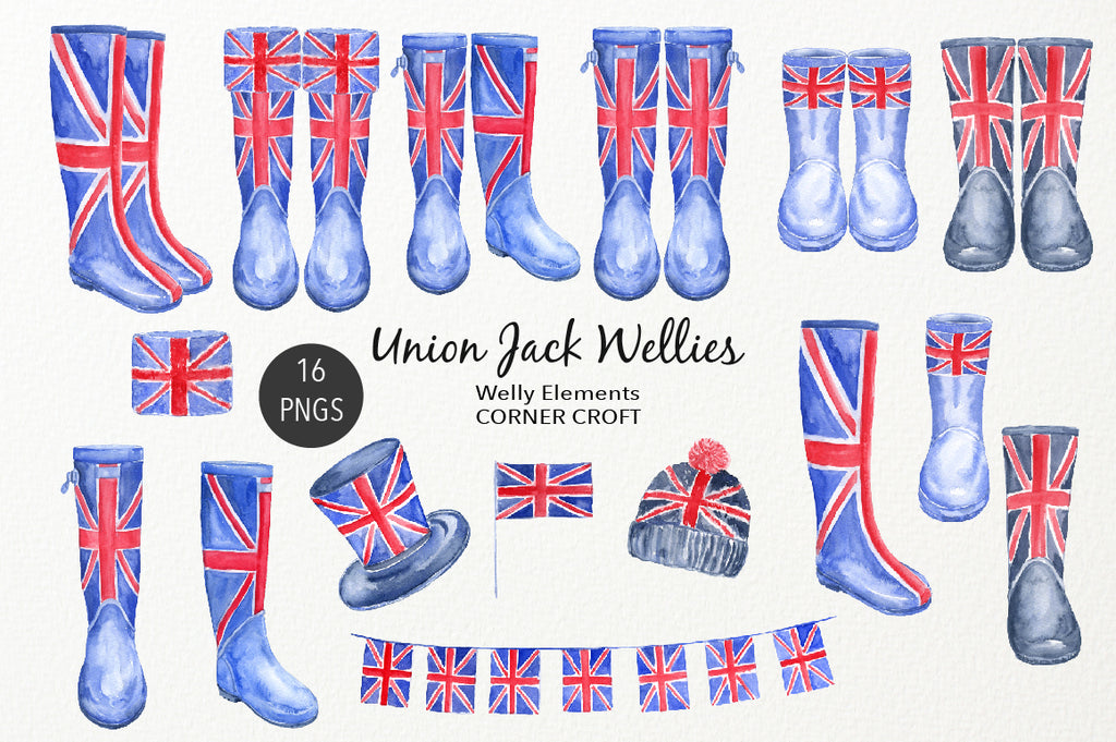 watercolour rain boots with British flag, watercolor wellies, welly illustration, instant download