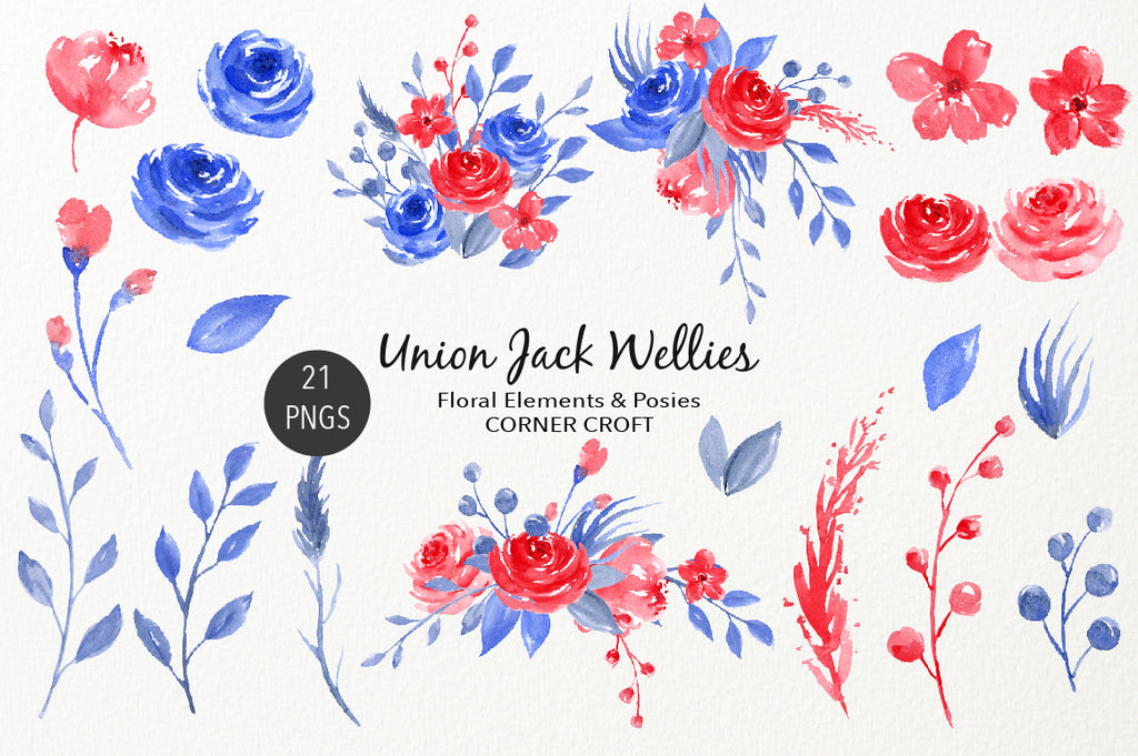 red flower, blue flower, floral composition, instant download, watercolor illustration