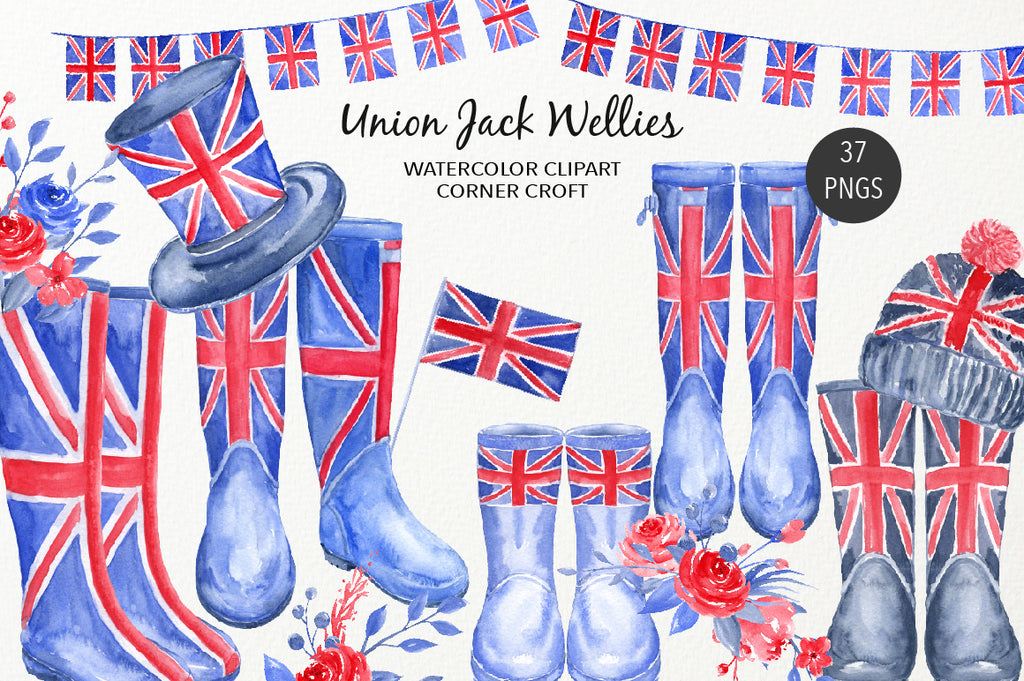 watercolour Union Jack wellies clipart, welly illustration, British flag wellies, instant download