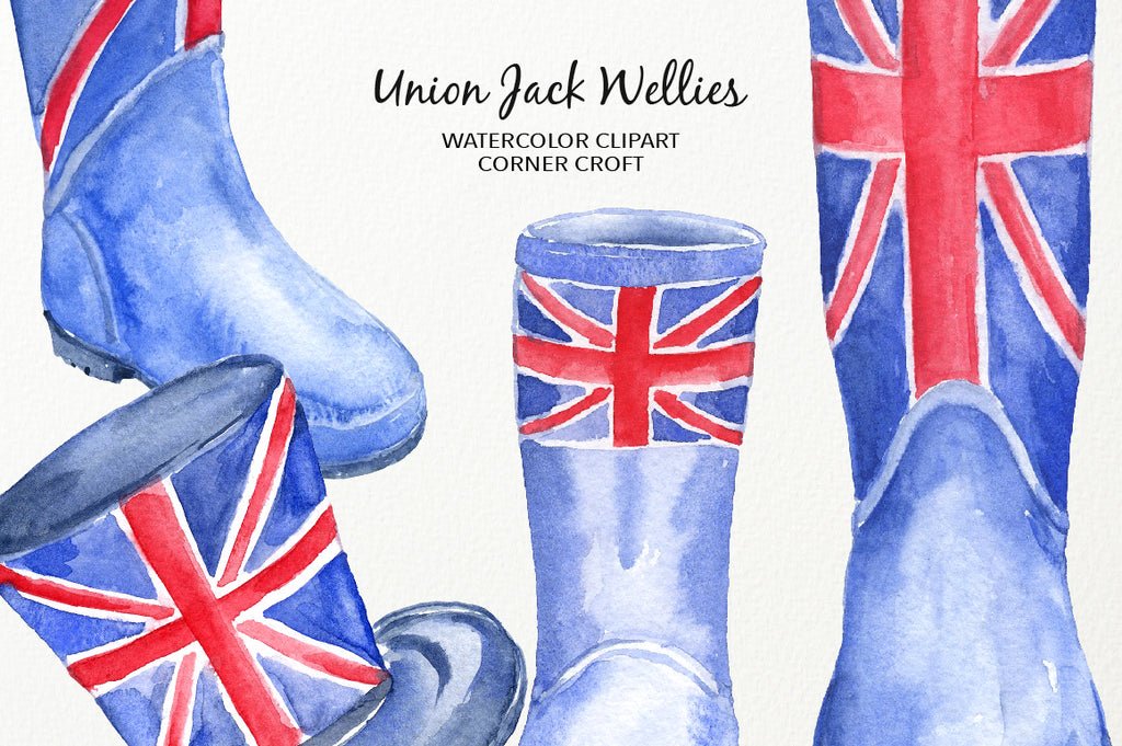 watercolour clipart, British flag wellies, instant download