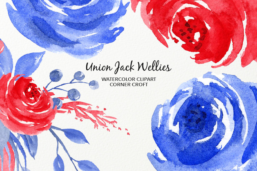 watercolor flower clipart, blue and red flowers, instant download