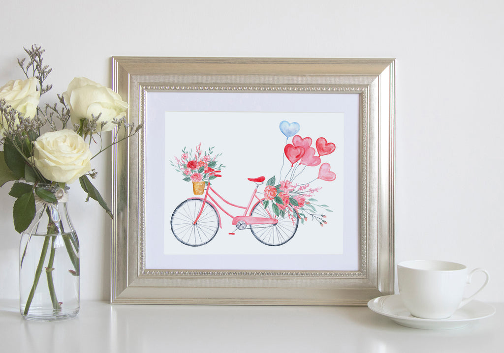 watercolour pink bike, heart balloon, valentine print