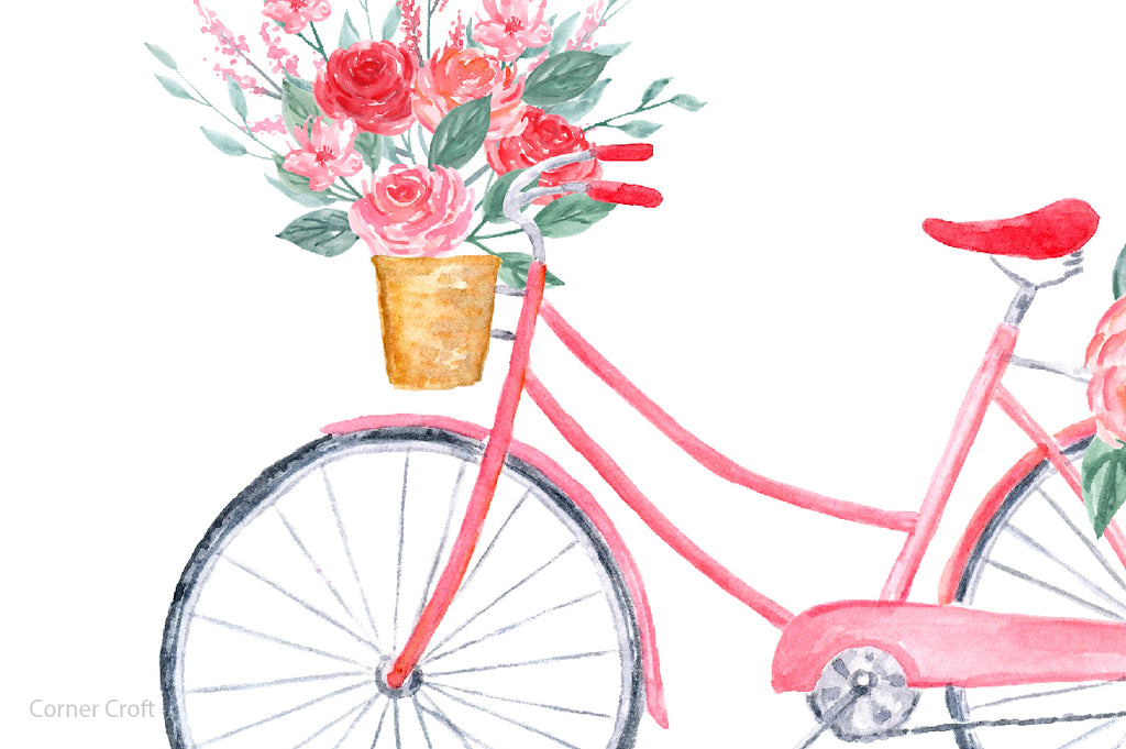 Close up of watercolor valentine print, pink valentine bike, corner croft design.