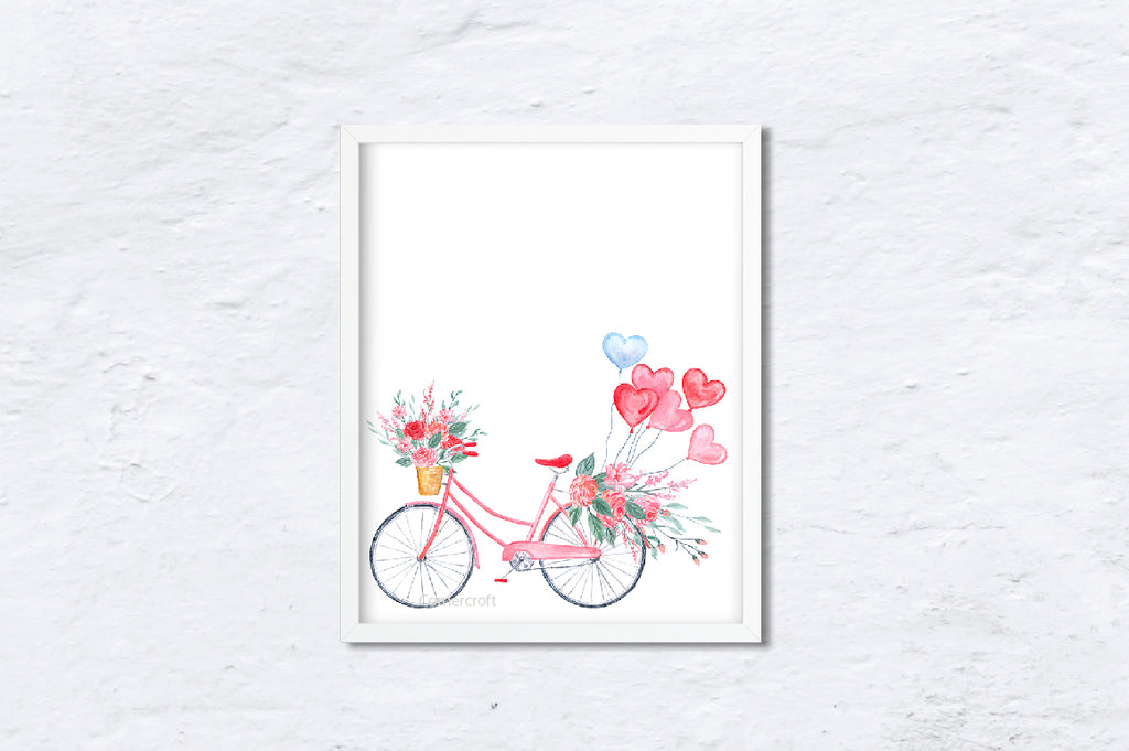 watercolor pink bike, pink and red flowers, heart balloon, Valentine gift.