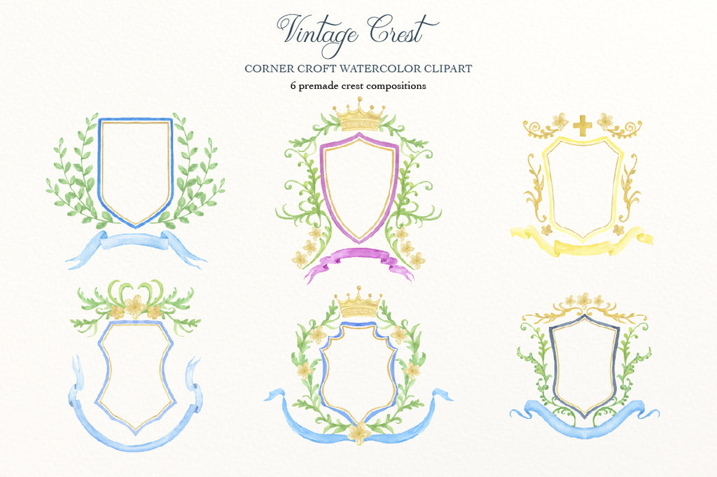 ready made crest, gold and blue crest, instant downlaod for wedding invitation