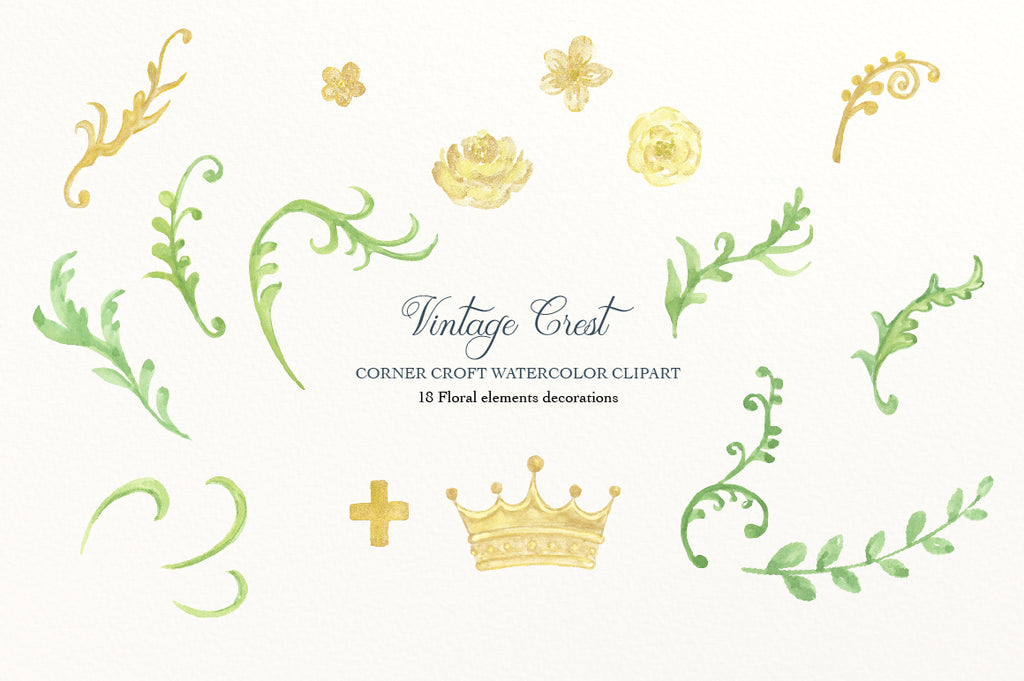 watercolor vintage green leaf and gold flower, cross and crown, clipart for instant download