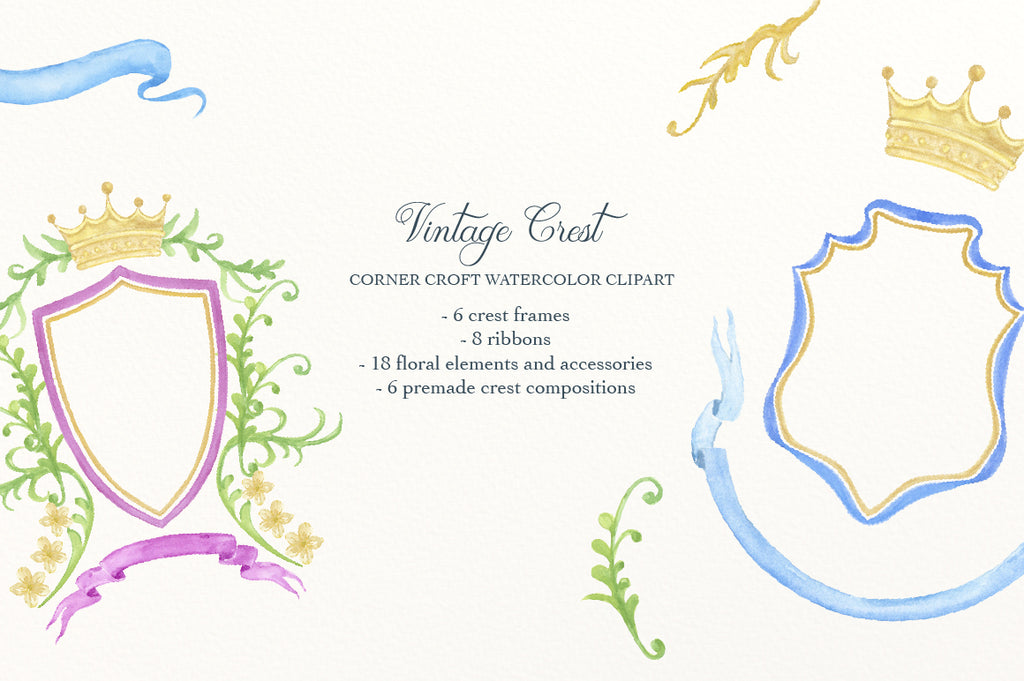 watercolor clipart of vintage style crest, perfect for wedding and invitations.