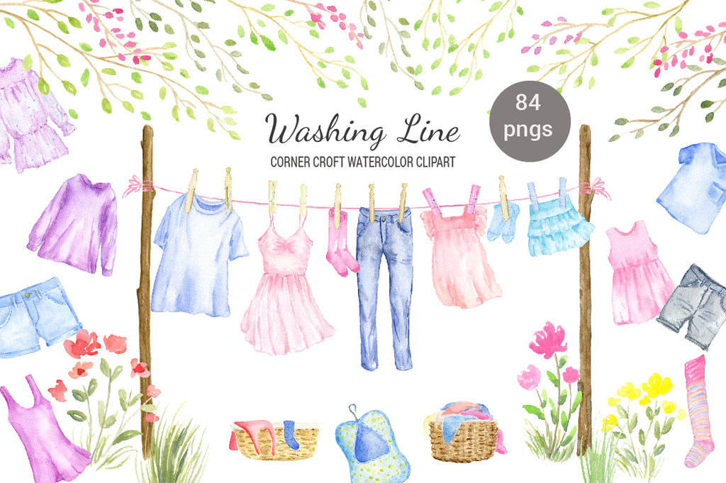 watercolor clipart washing line, clothes line, t-shirt, dress, shirt, fashion clothes, jeans, fashion illustration