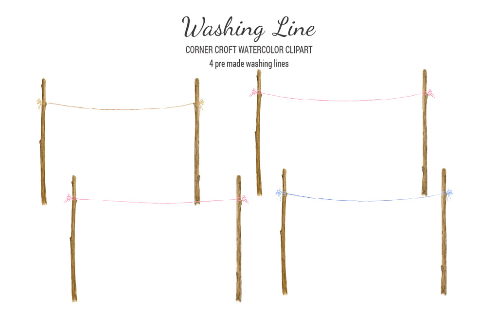 watercolor washing line, clothes line, instant download