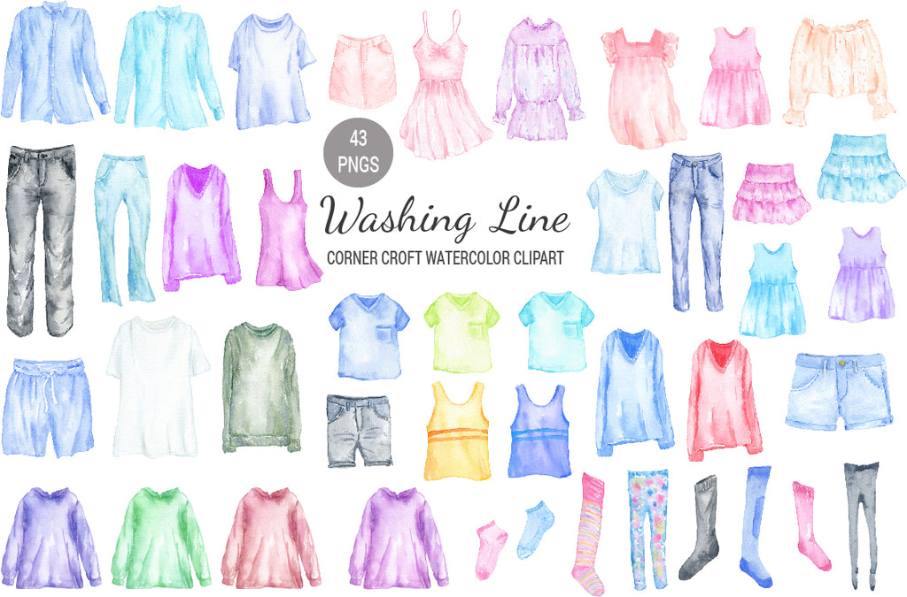 watercolor fashion clothes, washing line, clothes line, trousers, shorts, clothes illustration
