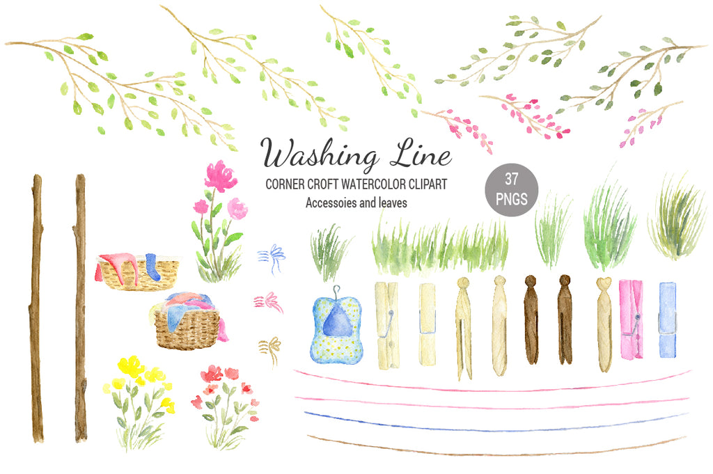 watercolor washing line, laundry basket, leaf branches, pegs, clothes line illustration