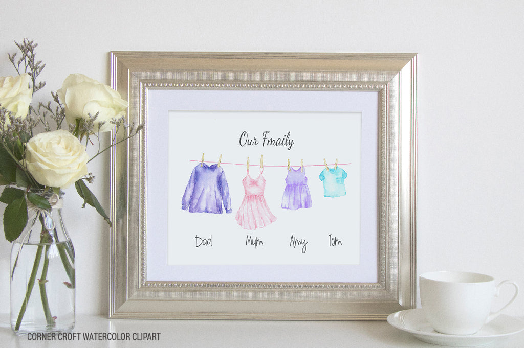 watercolor washing line personalised print, create my family print