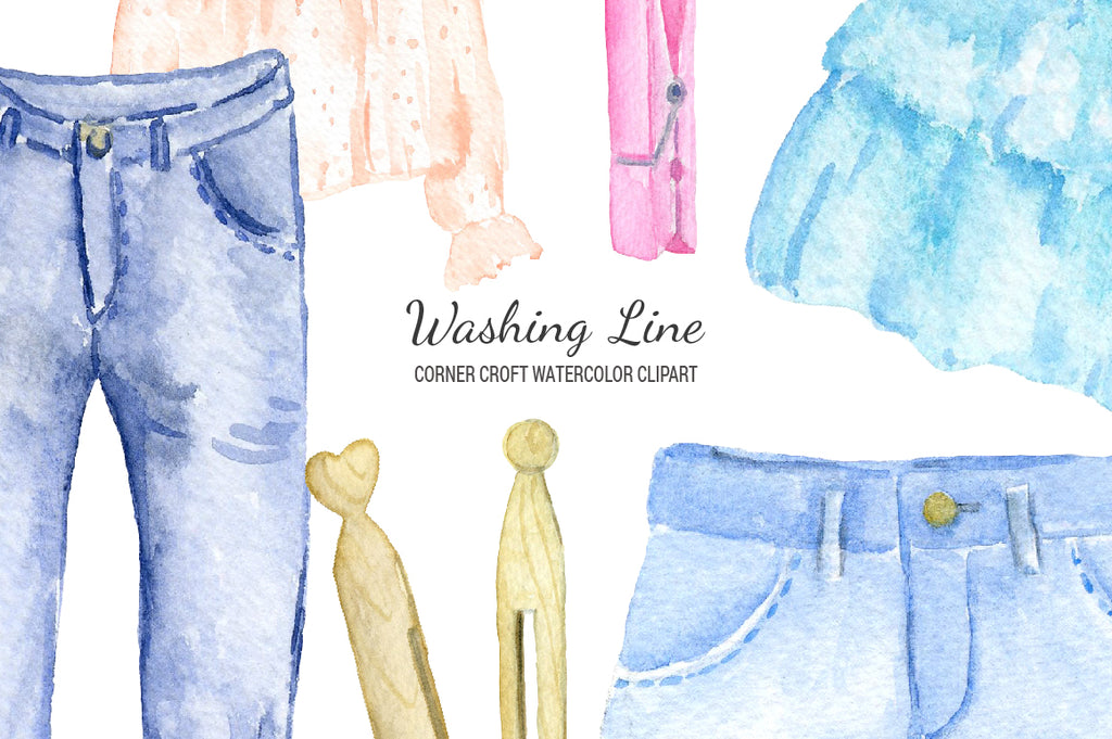 watercolor clipart, washing line clipart, clothes clipart, shirt, skirt, dress, fashion illustration
