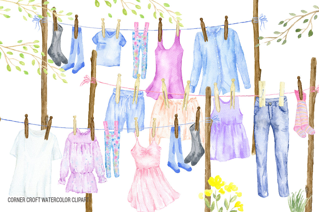 watercolor washing line clipart, clothes line clipart, fashion clothes, t-shirt, dress, jeans
