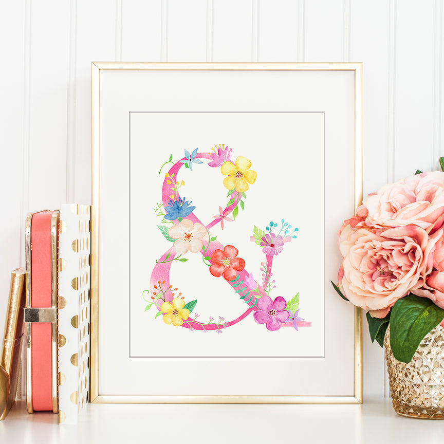 watercolor floral symbol &, pink floral symbol and, art print