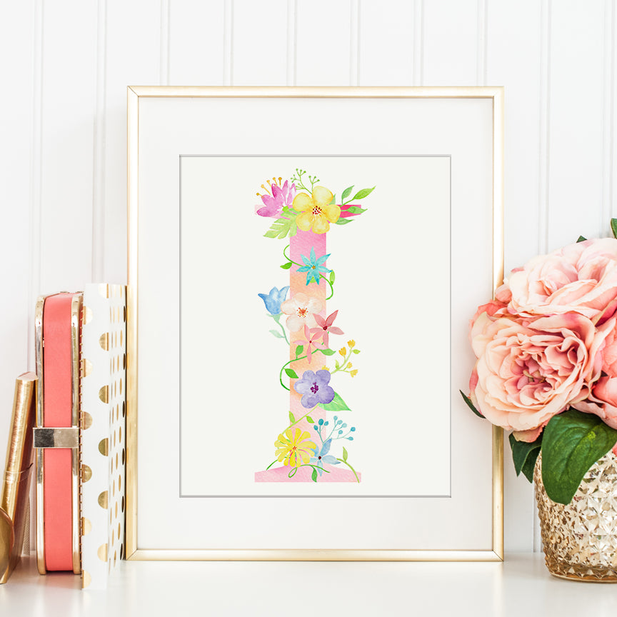 Watercolor floral letter I, name initial I, pink floral alphabet I, Capital letters printable
