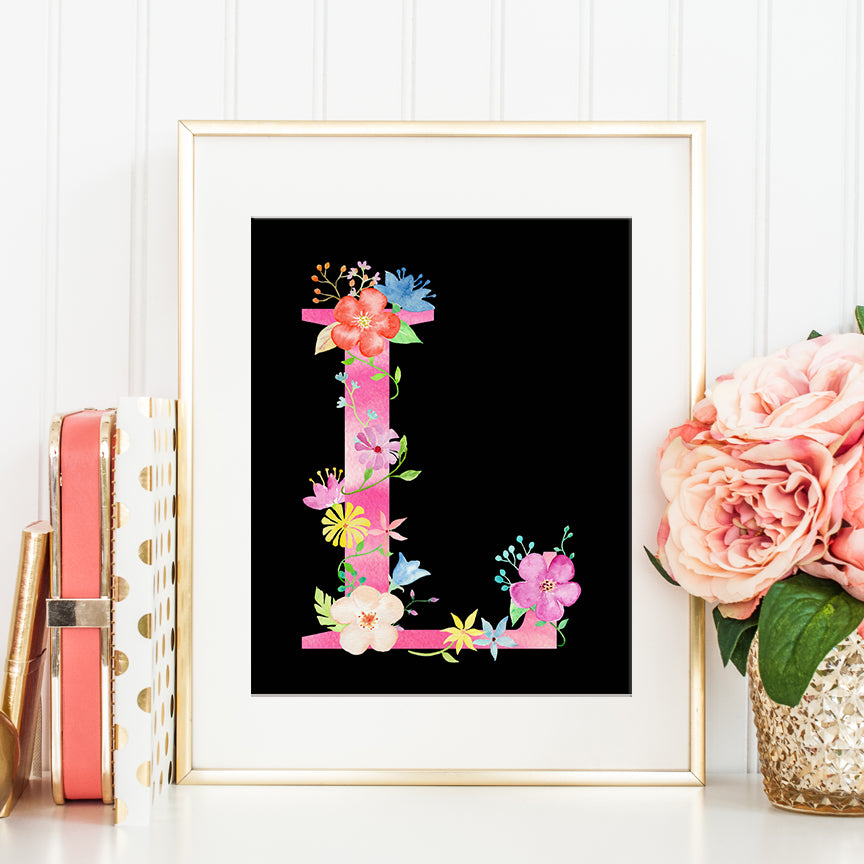 watercolor pink floral letter L, alphabet L, girl name initial L, pink flowers