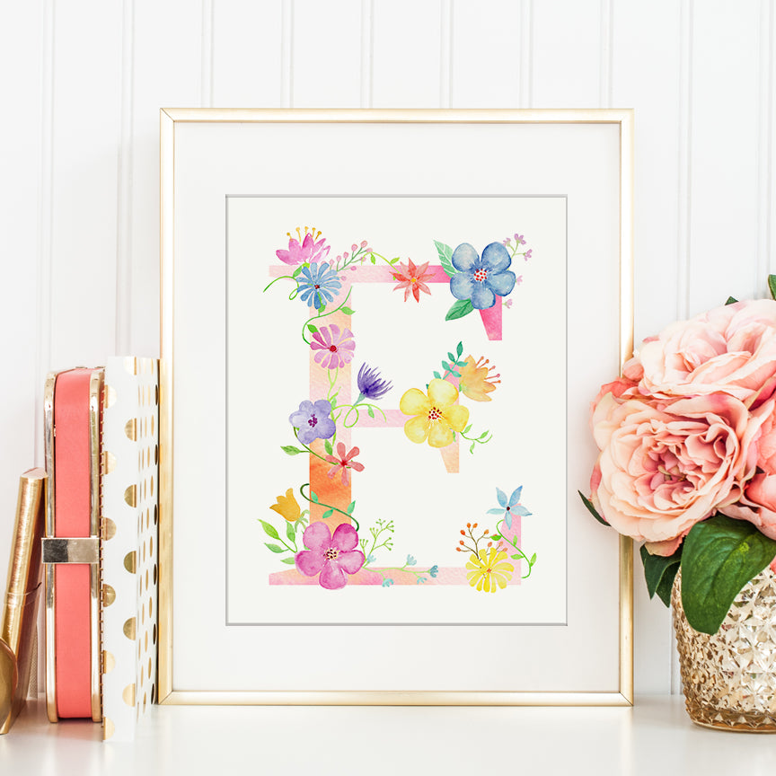 watercolor floral letter E, capital letter E, alphabet E, instant download