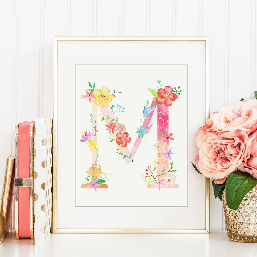 watercolor floral letter M, name initial M printable, pink flower letter M, M print