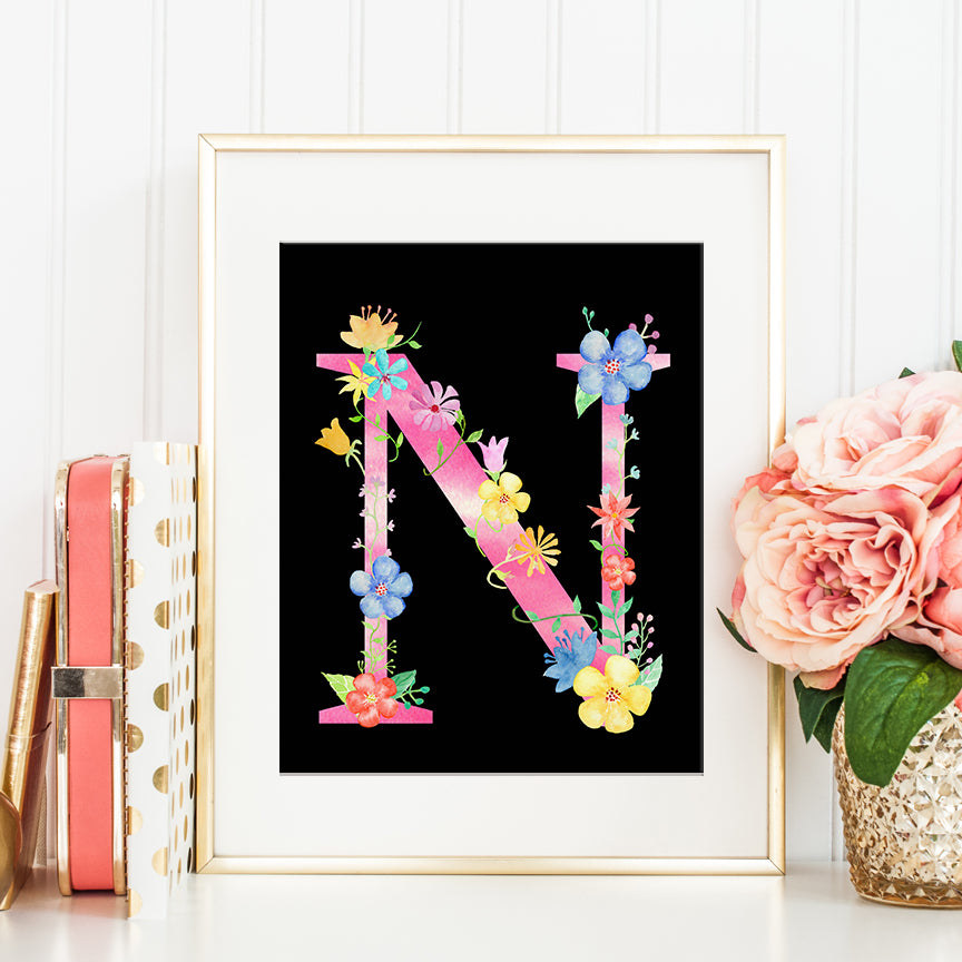 watercolor floral letter N, alphabet N, name initial N, pink floral alphabet N, digital download