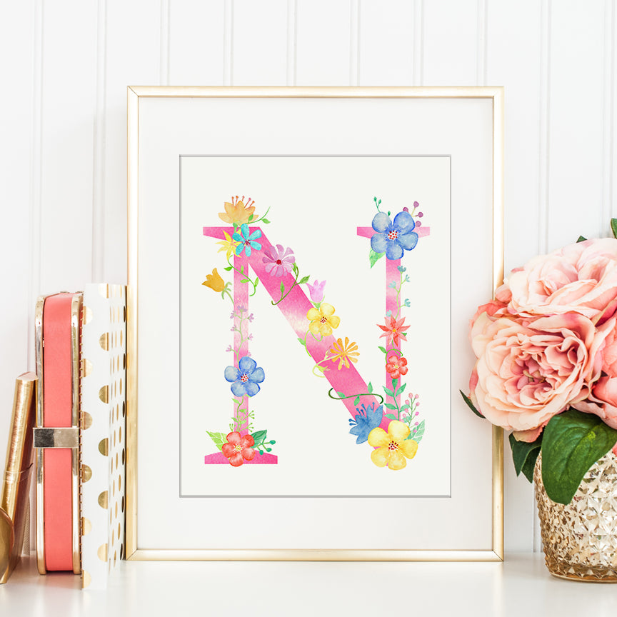 watercolor floral letter n, alphabet N, capital Letter N, floral alphabet N