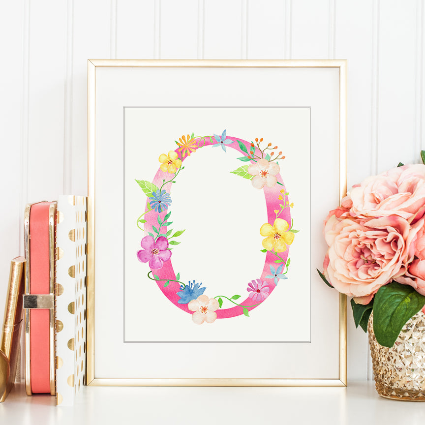 watercolor floral letter O, pink floral letter o, alphabet o, name initial print, instant download