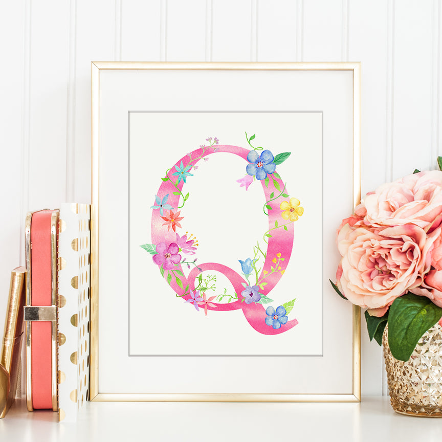 watercolor floral letter q, alphabet q, name initial Q, letter q printable