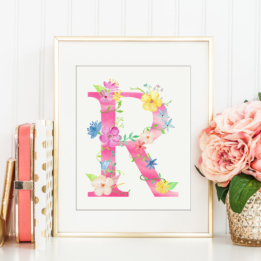 Floral letter r, pink letter r, name initial r, capital r,