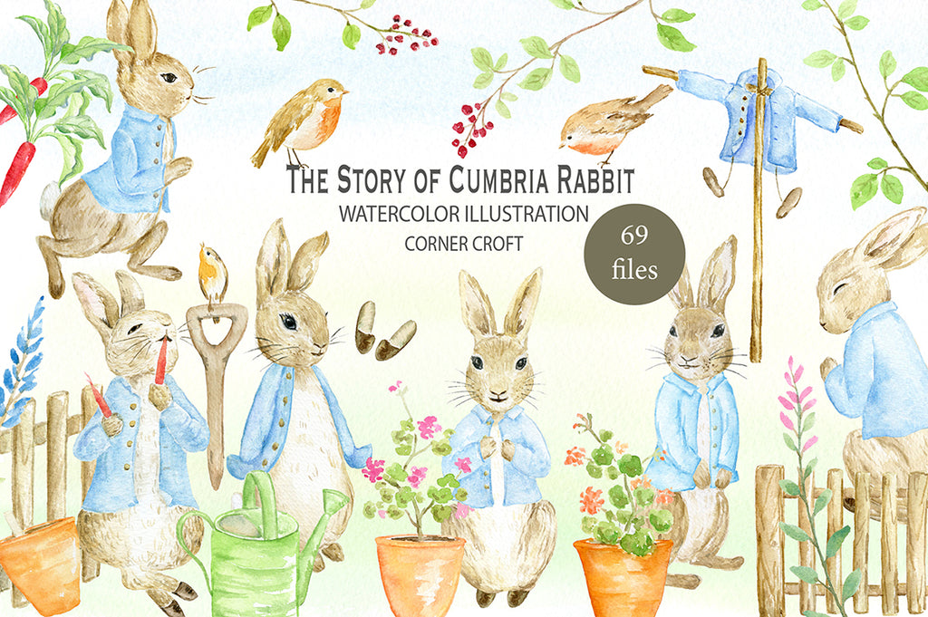 "Watercolor clipart Cumbria Rabbit inspired by ""The Tale of Peter Rabbit"", personalised print creator, nursery story creator"