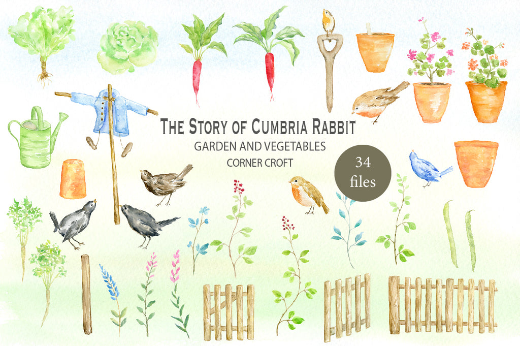 watercolor rabbit illustration, garden fence, pots, bird, blue jacket, sleepers scarecrow, instant download