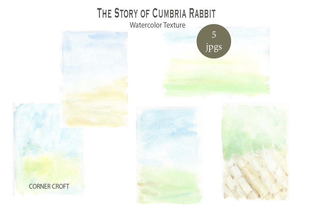 watercolor texture, green texture, blue texture, rabbit illustration