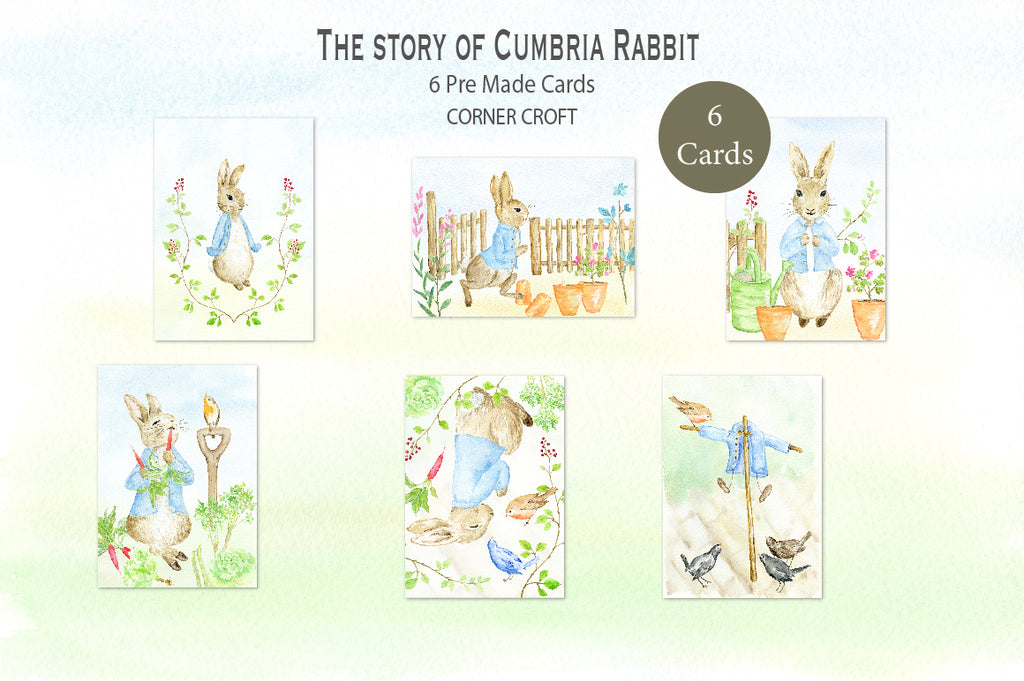 "watercolor cumbria rabbit greeting cards, inspired by ""Tale of Peter Rabbit"""