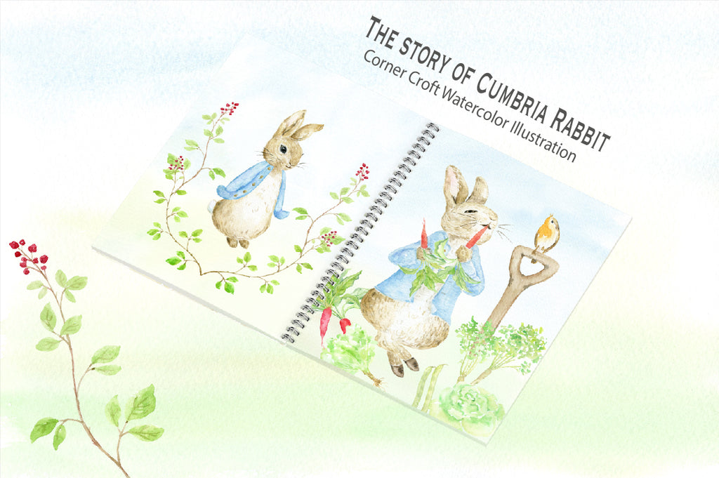 watercolor rabbit illustration, story creator, personalised print,