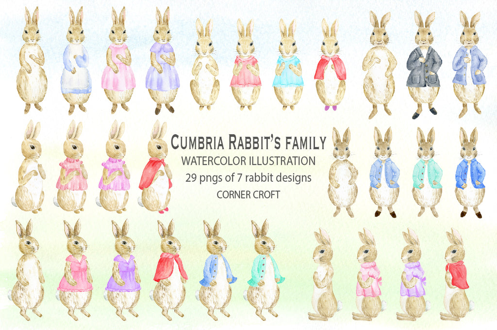Watercolor rabbit illustration with removable jacket, mum, dad, son and kids