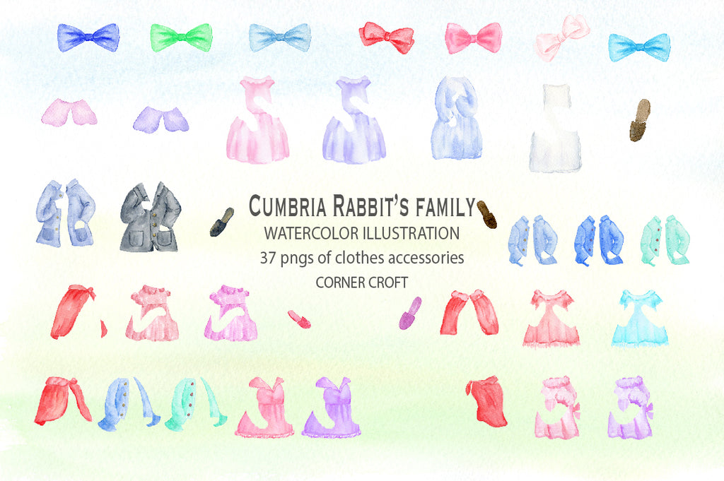 waterclor cumbria rabbit family with cloths set, dress and coat can be removed.