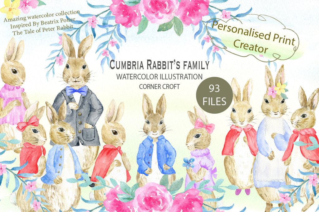 "watercolor rabbit family inspired by Beatrix Potter's ""the tale of Peter rabbit"", for personalised print, my family print"