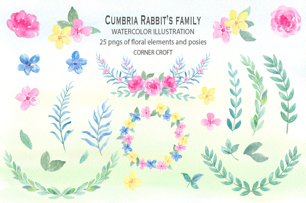 watercolor floral set for watercolor rabbit illustration, perfect for making personalised print