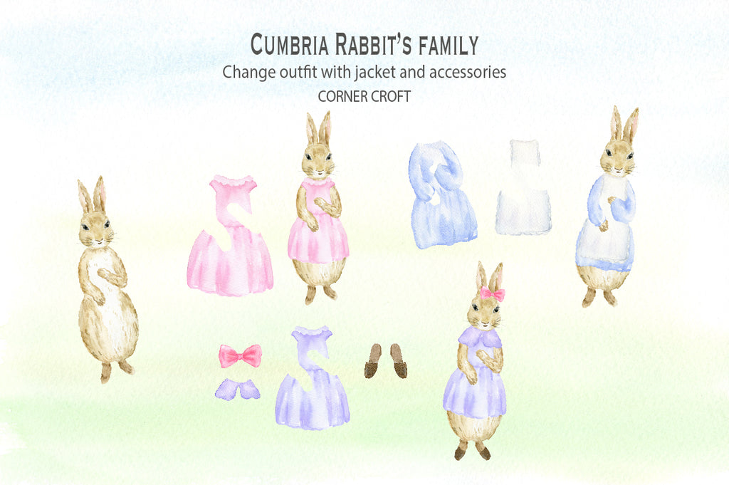customise rabbit with cloths set, watercolor rabbit clipart, instant download