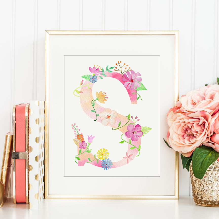 Floral letter S, pink floral letter s, alphabet S, name initial S, girl room deco, S