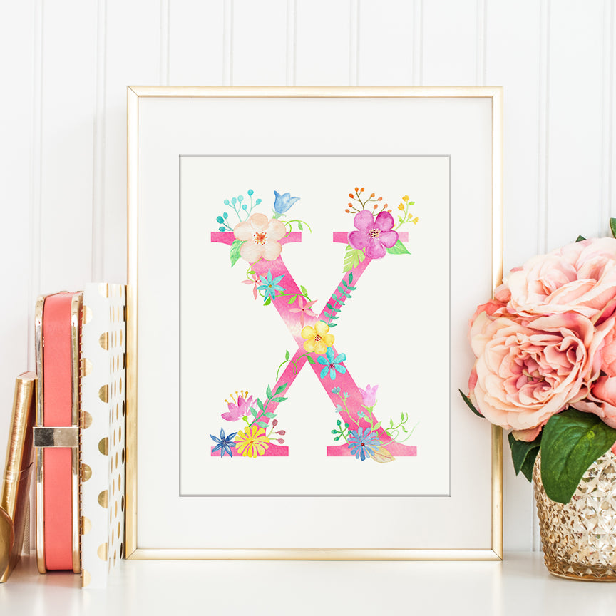 pink floral letter X, name initial X, alphabet X, watercolor pink alphabet X